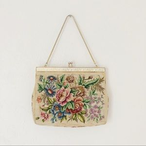 Vintage Floral Needle Point Purse